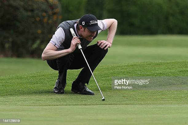 Andrew Turner of Knaresborough Golf Club lines up a putt at the 18th during the Glenmuir PGA Professional Championship Regional Qualifier at Fulford...