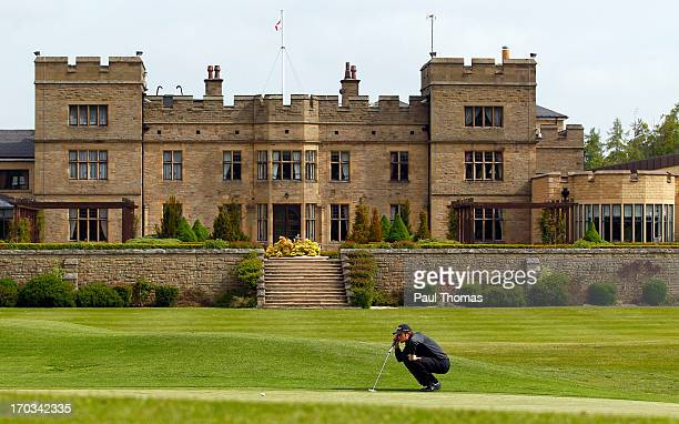 Andrew Turner of Knaresborough Golf Club lines up a putt on the 18th hole during the first round of the Glenmuir PGA Professional Championship on the...