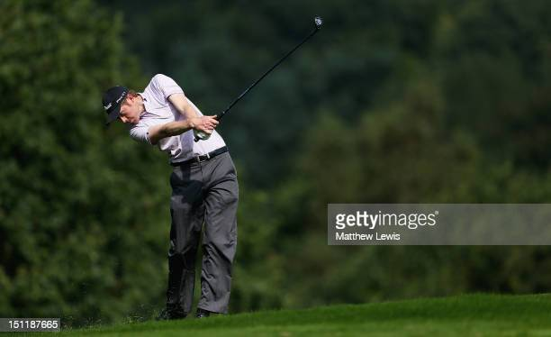 Andrew Turner of Knaresborough Golf Club plays a shot from the 14th fairway during the Lombard Challenge Regional Qualifier at Huddersfield Golf Club...
