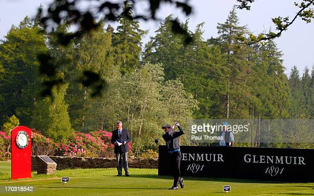 Andrew Turner of Knaresborough Golf Club tees off on the 10th hole during the first round of the Glenmuir PGA Professional Championship on the...