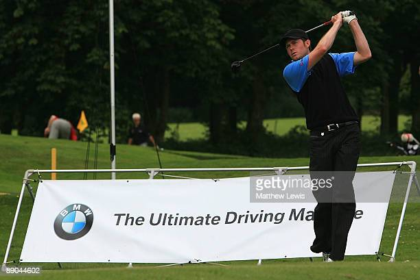 Andrew Turner of Knaresborough Golf Club tees off on the first hole during the Gulf Air International ProCaptains Challenge North Region Qualifier at...