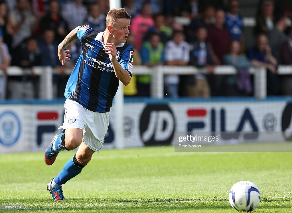Andrew Tutte of Rochdale in action during the npower League Two match between Rochdale and Northampton Town at Spotland Stadium on August 18, 2012 in Rochdale, England.