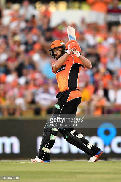 Andrew Tye of the Scorchers bats during the Big Bash League match between the Perth Scorchers and the Melbourne Stars at WACA on January 14 2017 in...