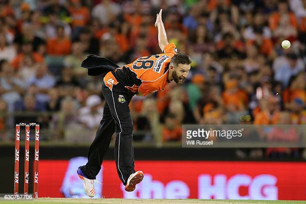 Andrew Tye of the Scorchers bowls during the Big Bash League match between the Perth Scorchers and Sydney Thunder at WACA on January 1 2017 in Perth...