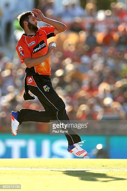 Andrew Tye of the Scorchers bowls during the Big Bash League match between the Perth Scorchers and the Melbourne Stars at the WACA on January 24 2017...