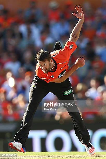 Andrew Tye of the Scorchers bowls during the Big Bash League match between the Perth Scorchers and the Sydney Sixers at WACA on January 28 2017 in...