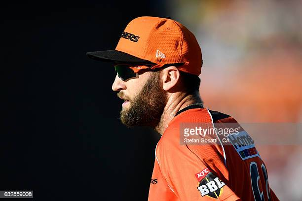 Andrew Tye of the Scorchers fields during the Big Bash League match between the Perth Scorchers and the Melbourne Stars at the WACA on January 24...