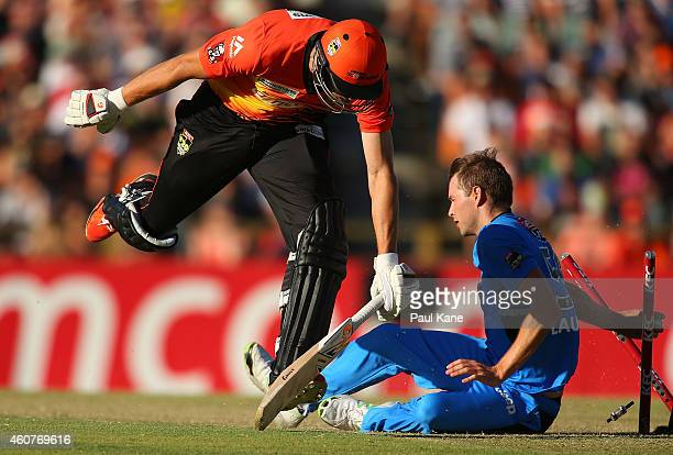 Andrew Tye of the Scorchers is run out during the Big Bash League match between the Perth Scorchers and Adelaide Strikers at WACA on December 22 2014...