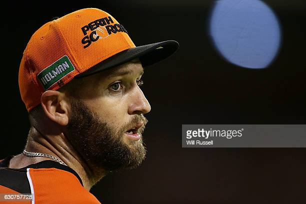 Andrew Tye of the Scorchers looks on during the Big Bash League match between the Perth Scorchers and Sydney Thunder at WACA on January 1 2017 in...
