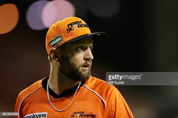 Andrew Tye of the Scorchers looks on during the Big Bash League match between the Perth Scorchers and the Melbourne Stars at WACA on January 14 2017...