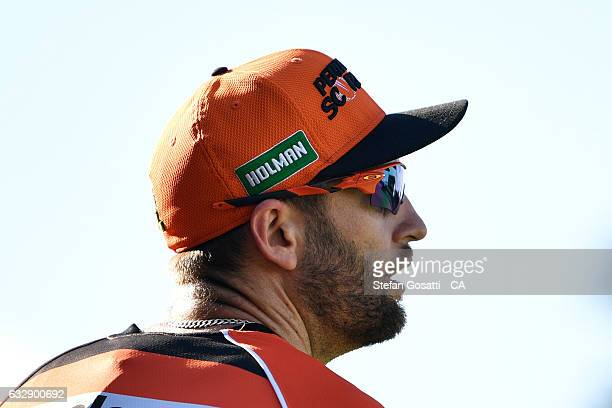 Andrew Tye of the Scorchers looks on during the Big Bash League match between the Perth Scorchers and the Sydney Sixers at WACA on January 28 2017 in...