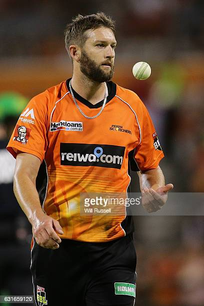 Andrew Tye of the Scorchers prepares to bowl during the Big Bash League match between the Perth Scorchers and the Melbourne Stars at WACA on January...