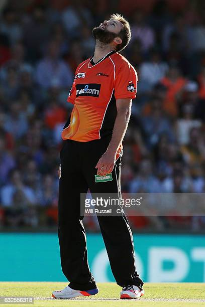 Andrew Tye of the Scorchers reacts after losing runs during the Big Bash League match between the Perth Scorchers and the Melbourne Stars at the WACA...