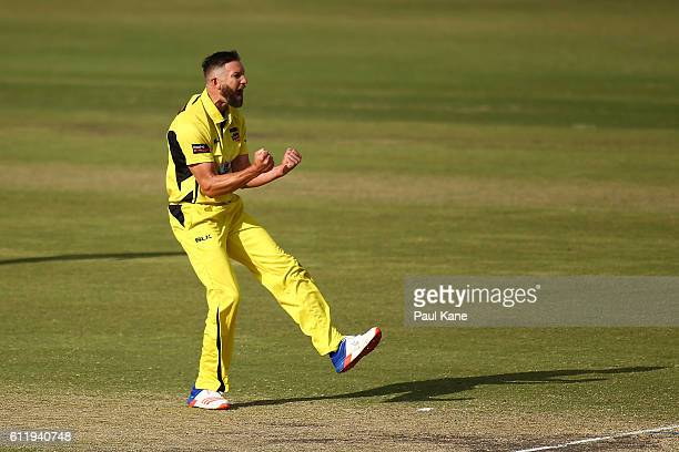 Andrew Tye of the Warriors celebrates the wicket of Jake Weatherald of the Redbacks during the Matador BBQs One Day Cup match between Western...