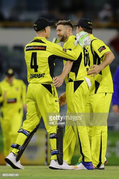 Andrew Tye of WA celebrates after taking the wicket of Kurtis Patterson of NSW during the JLT One Day Cup match between New South Wales and Western...