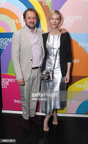 Andrew Upton and Cate Blanchett arrive ahead of the opening night of King Lear at Sydney Theatre Company on November 28 2015 in Sydney Australia