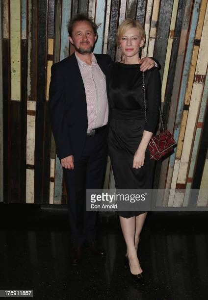Andrew Upton and Cate Blanchett arrive at the opening night of Rosencrantz Guildenstern are Dead at the Sydney Theatre Company on August 10 2013 in...