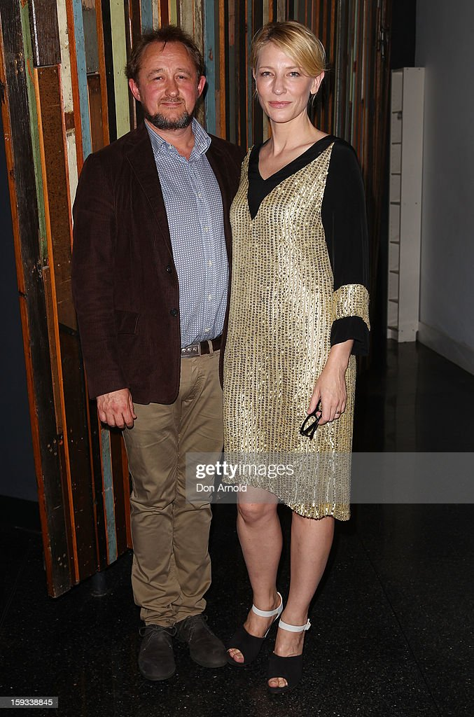 Andrew Upton and Cate Blanchett pose at opening night of 'The Secret River' at the Sydney Theatre Company on January 12, 2013 in Sydney, Australia.