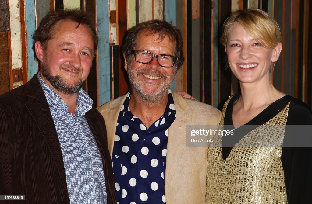 Andrew Upton, Neil Armfield and Cate Blanchett pose at the opening night of 'The Secret River' at the Sydney Theatre Company on January 12, 2013 in Sydney, Australia.