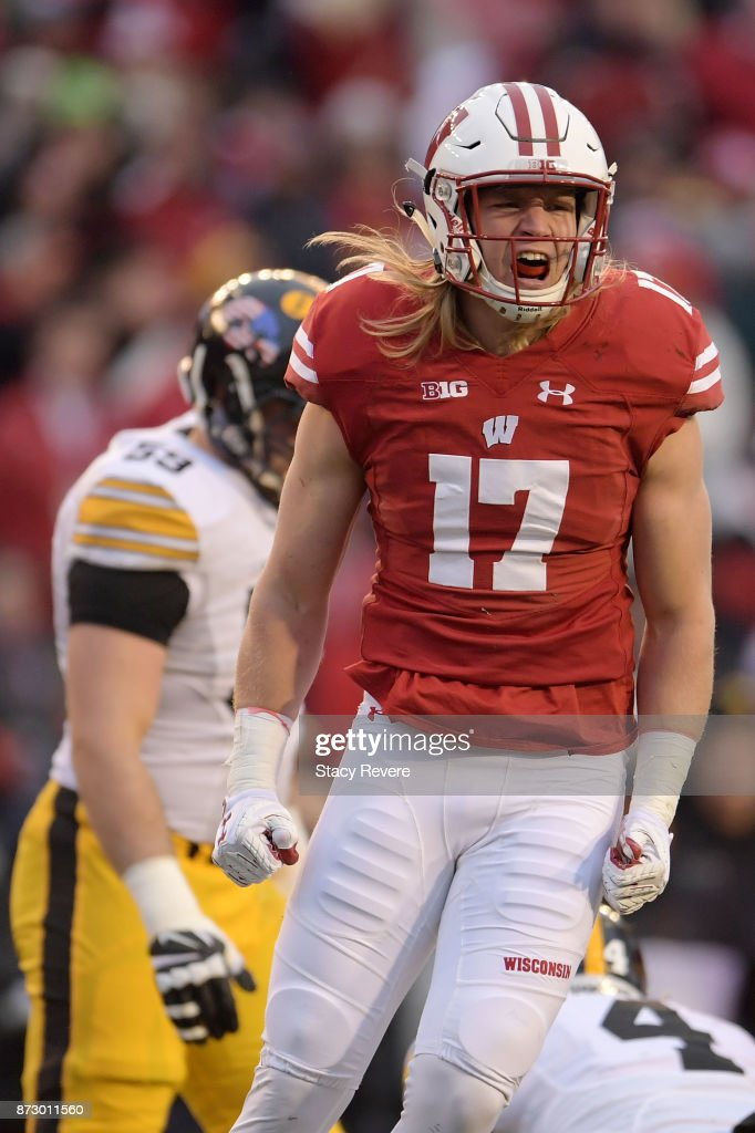 Andrew Van Ginkel #17 of the Wisconsin Badgers reacts to a sack against the Iowa Hawkeyes during the third quarter of a game at Camp Randall Stadium on November 11, 2017 in Madison, Wisconsin.