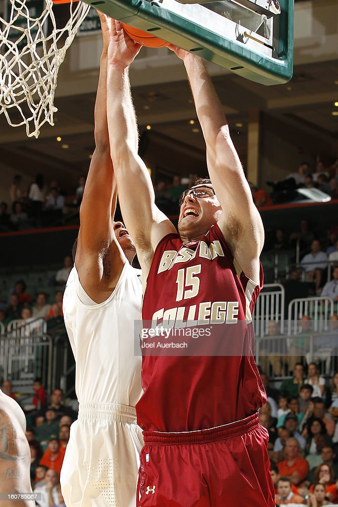 Andrew Van Nest #15 of the Boston College Eagles goes to the basket against the Miami Hurricanes on February 5, 2013 at the BankUnited Center in Coral Gables, Florida. The Hurricanes defeated the Eagles 72-50.