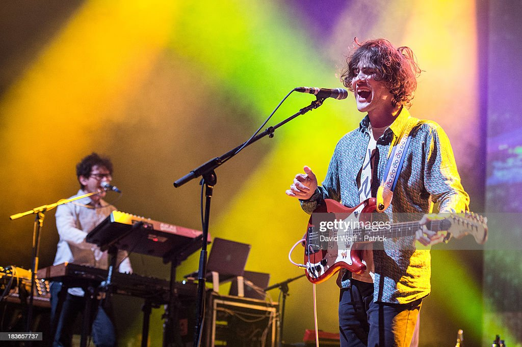 <a gi-track='captionPersonalityLinkClicked' href=/galleries/search?phrase=Andrew+VanWyngarden&family=editorial&specificpeople=4969502 ng-click='$event.stopPropagation()'>Andrew VanWyngarden</a> from MGMT performs at l' Olympia on October 8, 2013 in Paris, France.