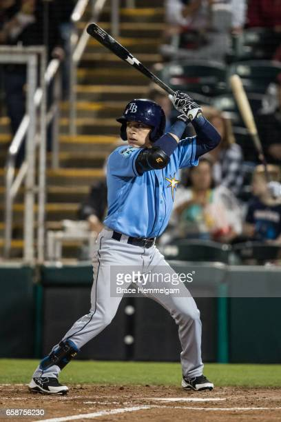 Andrew Velazquez of the Tampa Bay Rays bats against the Minnesota Twins on February 24 2017 at the CenturyLink Sports Complex in Fort Myers Florida