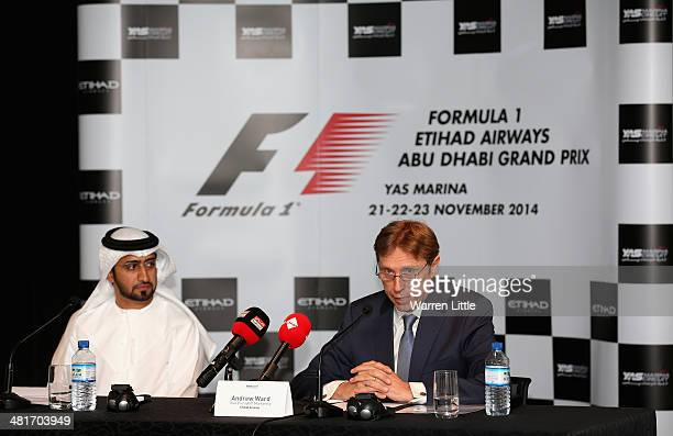 Andrew Ward Vice President Marketing Etihad Airways address a press conference announcing 2014 Formula One Etihad Airways Abu Dhabi Grand Prix...