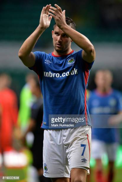 Andrew Waterworth of Linfield applauds the Linfield fans at the final whistle during the UEFA Champions League Qualifying Second Round Second Leg...