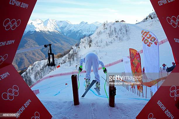Andrew Weibrecht of the United States leaves the starting house during a training session for the Alpine Skiing Men's Super Combined Downhill on day...