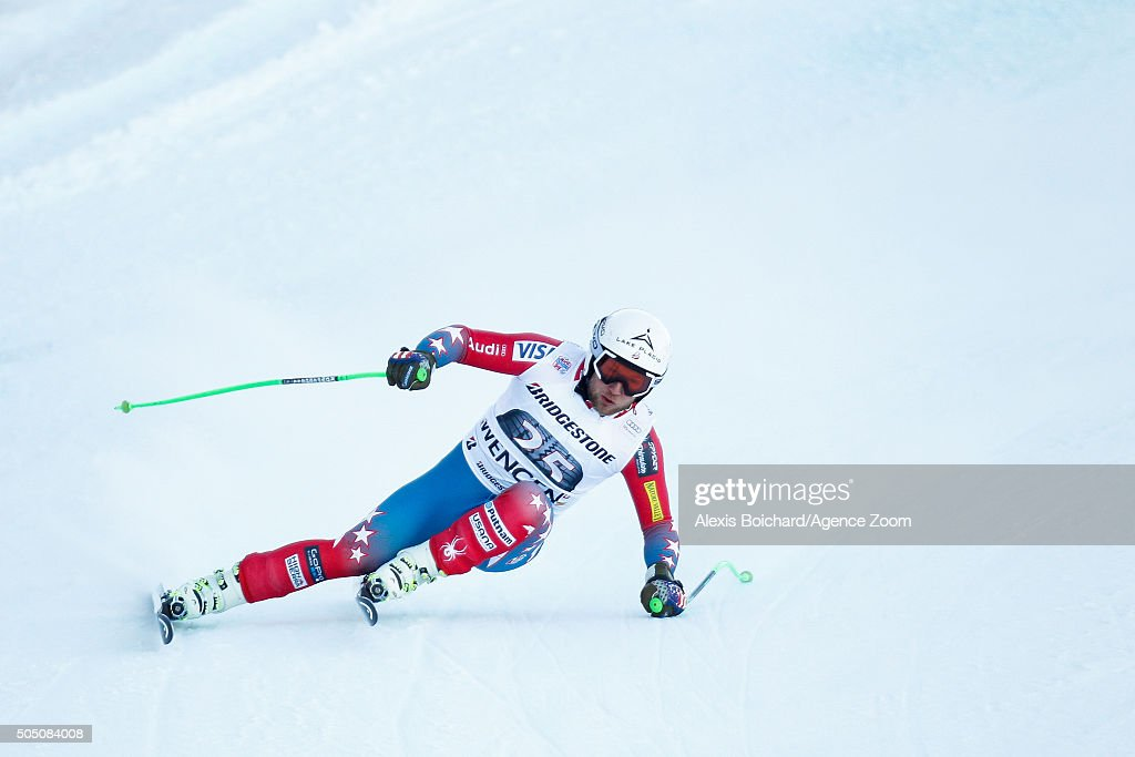 Andrew Weibrecht of the USA competes during the Audi FIS Alpine Ski World Cup Men's Super Combined on January 15 2016 in Wengen Switzerland