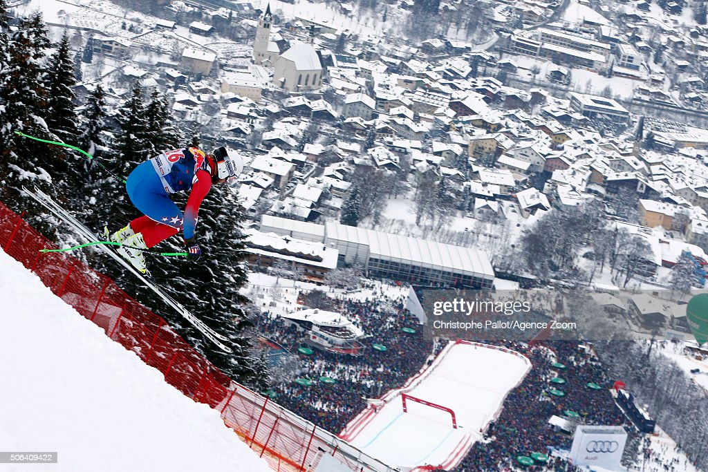 Andrew Weibrecht of the USA competes during the Audi FIS Alpine Ski World Cup Men's Downhill on January 23 2016 in Kitzbuehel Austria