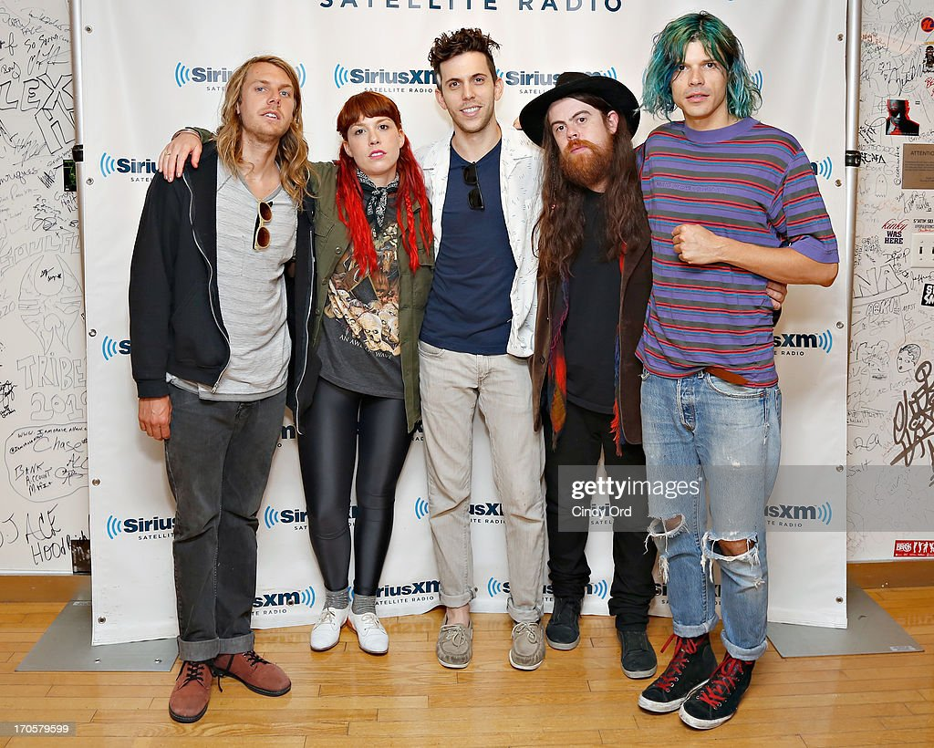 Andrew Wessen, Hannah Hooper, Ryan Rabin, Sean Gadd and Christian Zucconi of Grouplove visit the SiriusXM Studios on June 14, 2013 in New York City.