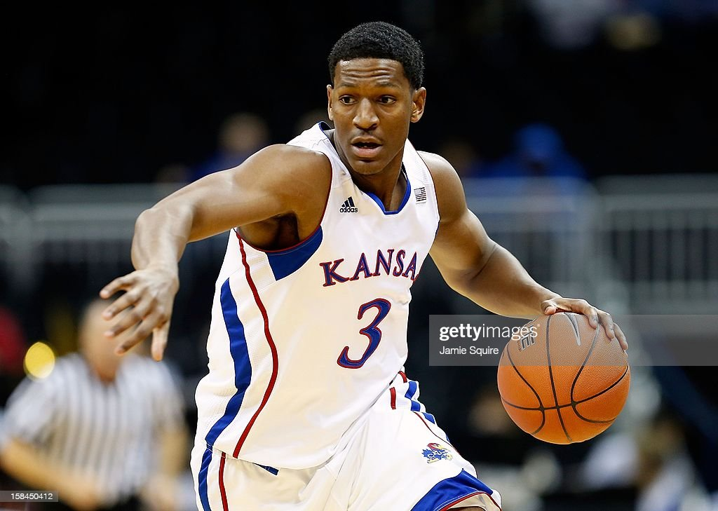Andrew White III #3 of the Kansas Jayhawks in action during the CBE Hall of Fame Classic against the Washington State Cougars at the Sprint Center on November 19, 2012 in Kansas City, Missouri.