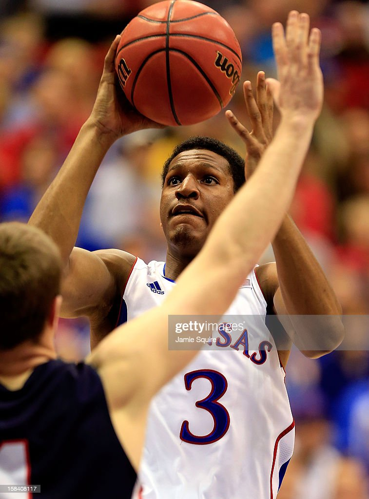 Andrew White III #3 of the Kansas Jayhawks shoots during the game against the Belmont Bruins at Allen Fieldhouse on December 15, 2012 in Lawrence, Kansas.