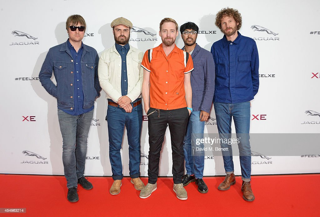 Andrew White Nick Baines Ricky Wilson Vijay Mistry and Simon Rix of Kaiser Chiefs attend as guests of Jaguar at the global reveal of the new XE in...