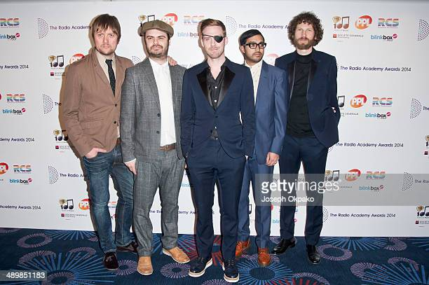 Andrew White Vijay Mistry Ricky Wilson Nick Baines and Simon Rix of Kaiser Chiefs attend The Radio Academy Awards at The Grosvenor House Hotel on May...