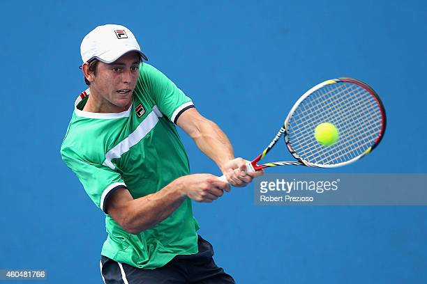 Andrew Whittington of Australia plays a backhand in his first round match against Dane Propoggia of Australia during the 2015 Australian Open play...