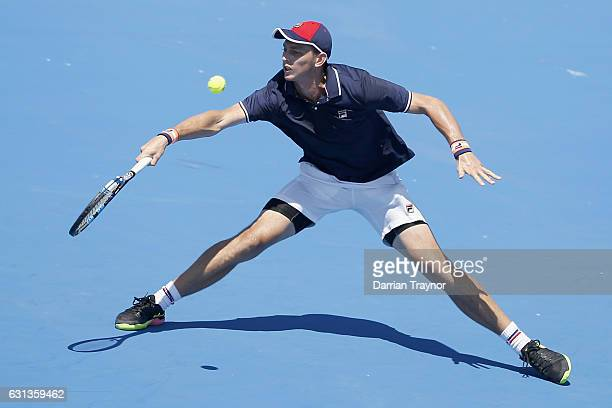 Andrew Whittington of Australia plays a plays a forehand shot in his match against Borna Coric of Croatia during day one of the 2017 Priceline...