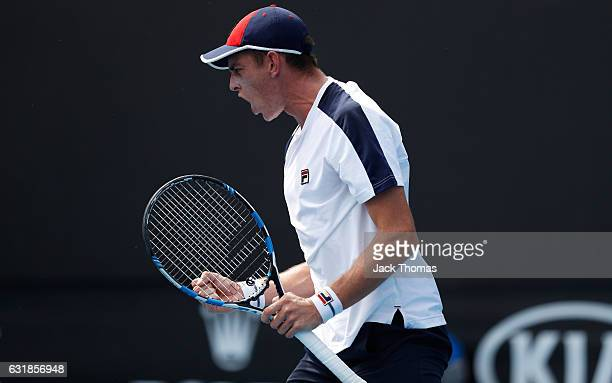 Andrew Whittington of Australia reacts during his first round match against Adam Pavlasek of the Czech Republic on day two of the 2017 Australian...