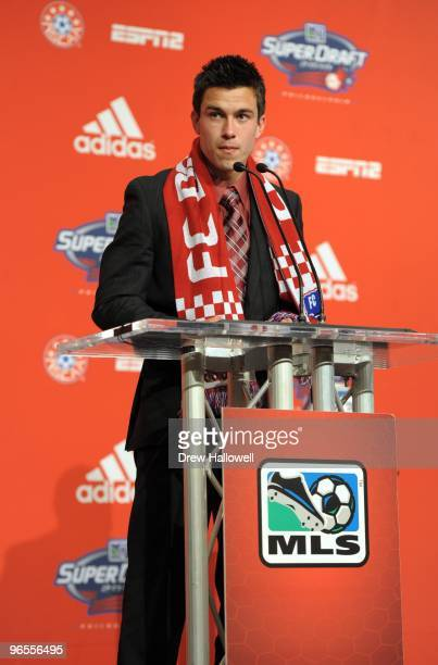 Andrew Wiedeman stands at the podium after being selected by FC Dallas during in the second round 21st overall in the 2010 MLS SuperDraft on January...