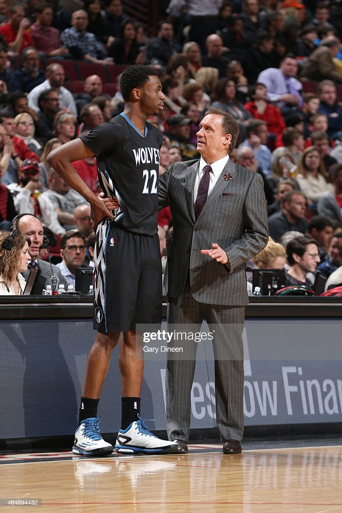 Andrew Wiggins and head coach Flip Saunders of the Minnesota Timberwolves during the game against the Chicago Bulls on February 27 2015 at United...