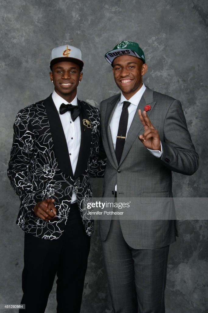 <a gi-track='captionPersonalityLinkClicked' href=/galleries/search?phrase=Andrew+Wiggins&family=editorial&specificpeople=7720937 ng-click='$event.stopPropagation()'>Andrew Wiggins</a> and <a gi-track='captionPersonalityLinkClicked' href=/galleries/search?phrase=Jabari+Parker&family=editorial&specificpeople=9330340 ng-click='$event.stopPropagation()'>Jabari Parker</a>, the first and second pick overall by the Cleveland Cavaliers and Milwaukee Bucks, pose for a portrait during the 2014 NBA Draft at the Barclays Center on June 26, 2014 in the Brooklyn borough of New York City.