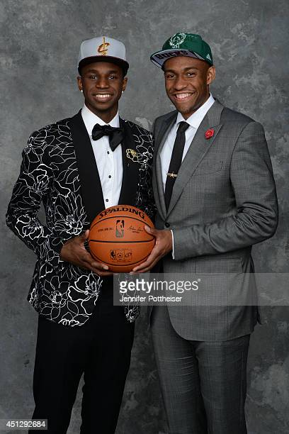 Andrew Wiggins and Jabari Parker the first and second pick overall by the Cleveland Cavaliers and Milwaukee Bucks pose for a portrait during the 2014...