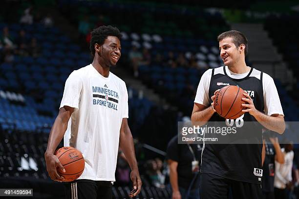 Andrew Wiggins and Nemanja Bjelica of the Minnesota Timberwolves warm up before a scrimmage on October 5 2015 at Target Center in Minneapolis...