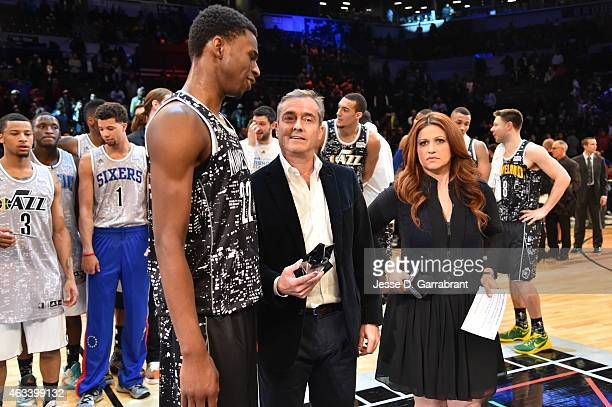 Andrew Wiggins Minnesota Timberwolves is awarded the MVP for the 2015 NBA AllStar Rookie Rising Stars Challenge at Barclays Center on February 13...