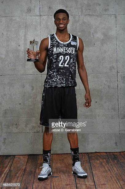 Andrew Wiggins Minnesota Timberwolves poses with his MVP Trophy after the 2015 NBA AllStar Rookie Rising Stars Challenge game at Barclays Center on...