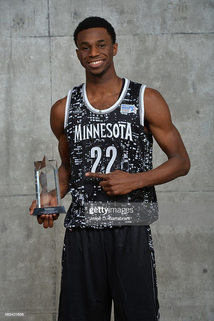 <a gi-track='captionPersonalityLinkClicked' href=/galleries/search?phrase=Andrew+Wiggins&family=editorial&specificpeople=7720937 ng-click='$event.stopPropagation()'>Andrew Wiggins</a> #22 Minnesota Timberwolves poses with his MVP Trophy after the 2015 NBA All-Star Rookie Rising Stars Challenge game at Barclays Center on February 13, 2015 in New York,New York
