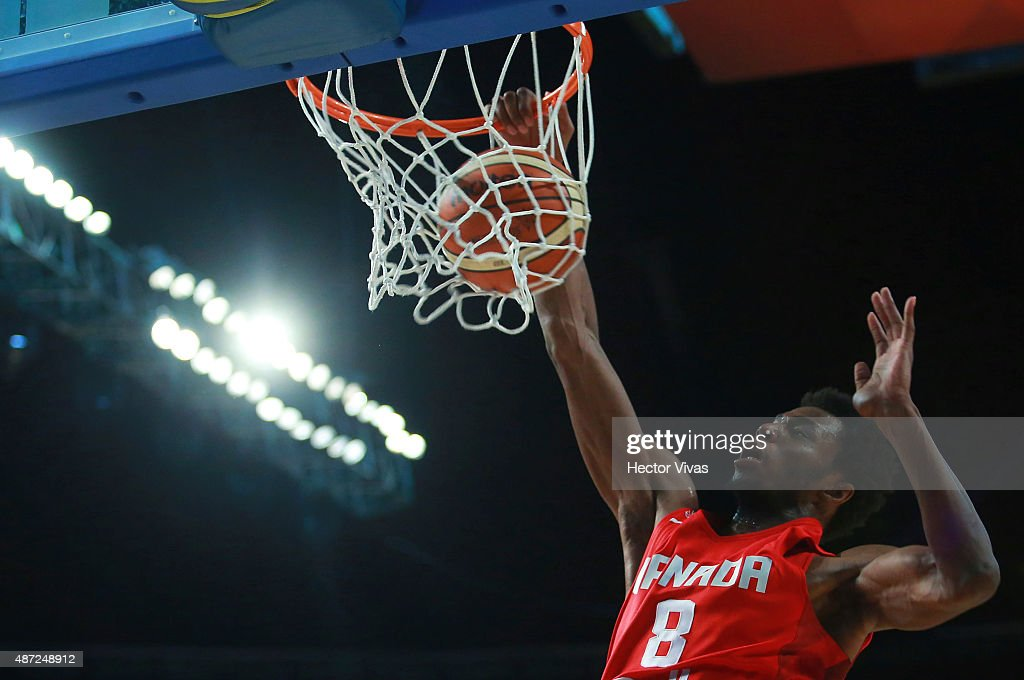 <a gi-track='captionPersonalityLinkClicked' href=/galleries/search?phrase=Andrew+Wiggins&family=editorial&specificpeople=7720937 ng-click='$event.stopPropagation()'>Andrew Wiggins</a> of Canada dunks the ball during a second stage match between Uruguay and Canada as part of the 2015 FIBA Americas Championship for Men at Palacio de los Deportes on September 07, 2015 in Mexico City, Mexico.