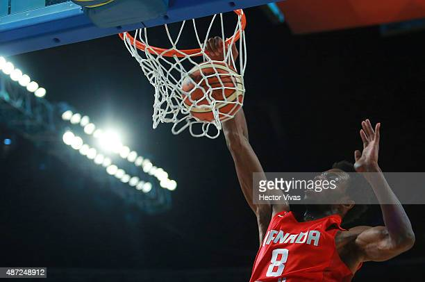 Andrew Wiggins of Canada dunks the ball during a second stage match between Uruguay and Canada as part of the 2015 FIBA Americas Championship for Men...